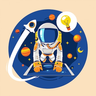 Back to school concept. astronaut kid learn online astronomy lesson concept about earth and space