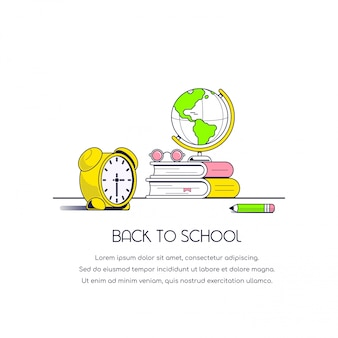 Back to school concept banner. flat style illustration.