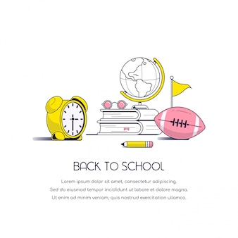 Back to school concept banner. still life image with books, eyeglasses, globe, pencil, football and alarm clock isolated on white background.