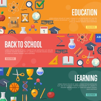 Back to school concept banner template