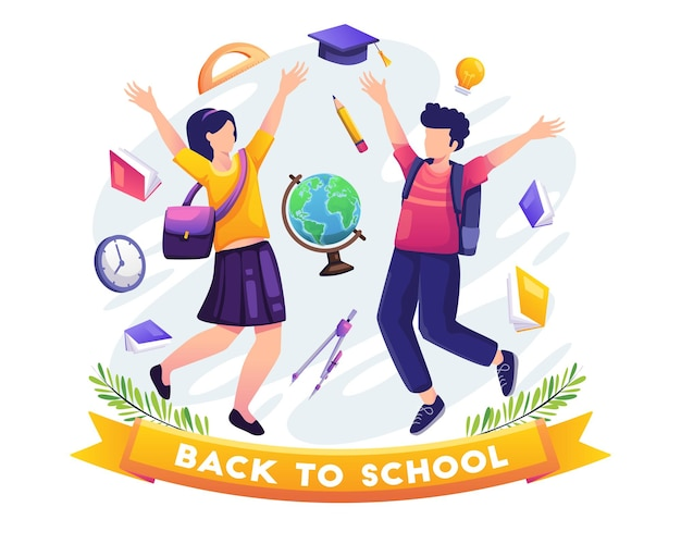 Back to school concept design students are happy to be back at the school vector illustration
