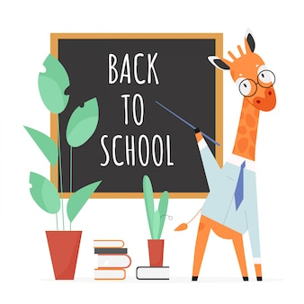 Back to school concept  illustration. cartoon  giraffe teacher character with pointer and glasses standing at school blackboard, teaching animal students, education concept  on white