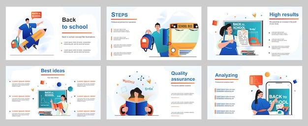 Back to school concept for presentation slide template pupils go to lessons schoolgirls