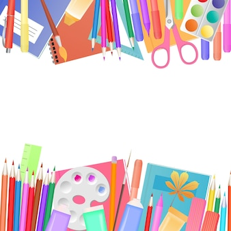 Back to school concept. a set of subjects for learning and children s creativity.