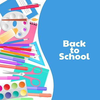 Back to school concept. supplies for teaching and children's creativity.