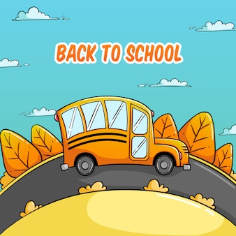 Back to school concept with bus school illustration and autumn theme