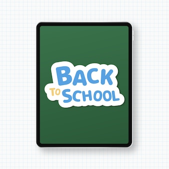 Back to school concept with modern tablet isolated