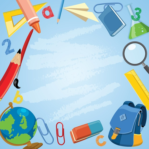 Back to school concept with school supplies in cartoon