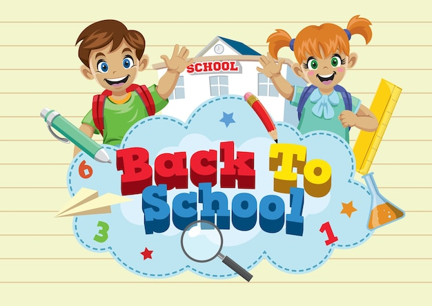 Back to school concept with two happy children