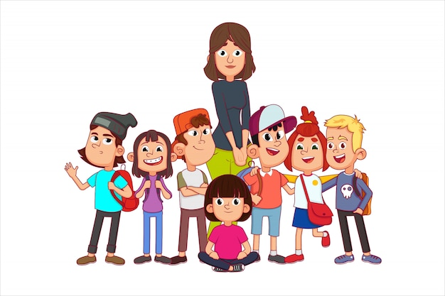 Back to school concept with young smiling woman teacher and group of kids.