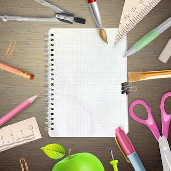 Back to school concept on wooden background.
