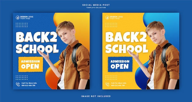 Back to school corporate social media post template