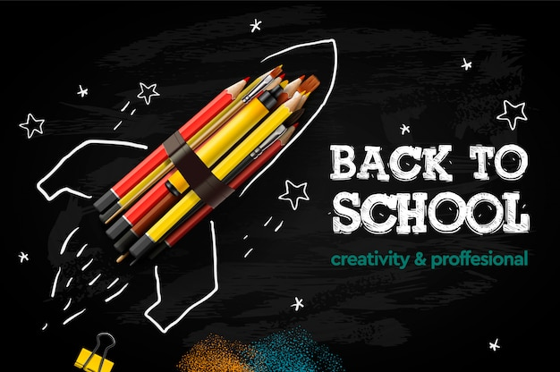 Back to school creative banner. rocket ship launch with pencils - sketch on the blackboard, illustration.