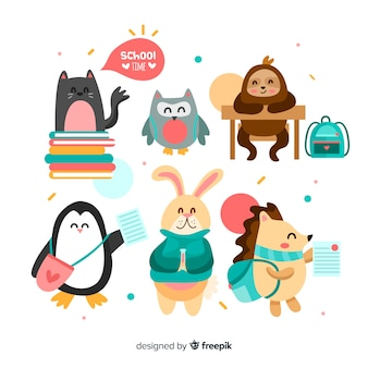 Back to school cute animal collection