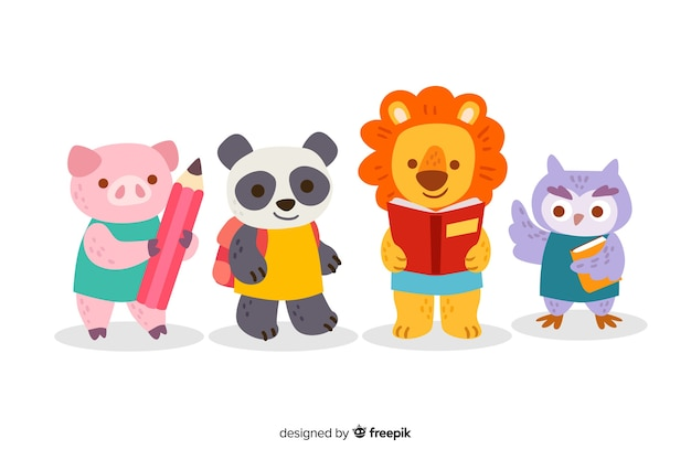 Back to school cute animal collection Free Vector
