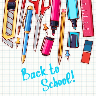 Back to school. cute background with different stationery.