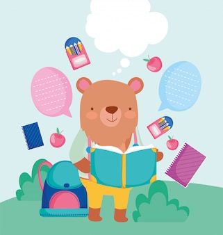 Back to school cute bear reading book backpack pencils education
