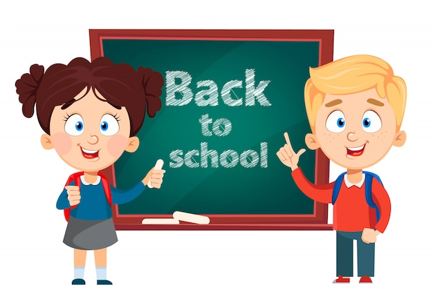 Back to school. cute boy and girl