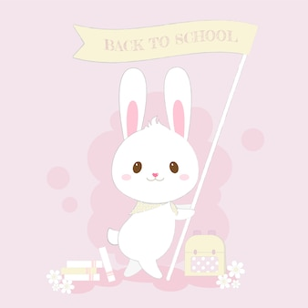 Back to school cute bunny hand drawn style vector.