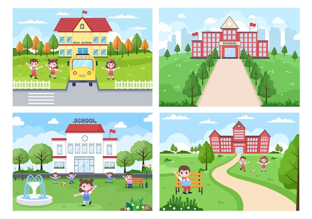 Back to school, cute bus and some children are playing in the front yard illustration