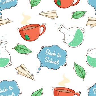 Back to school cute icons in seamless pattern with colored doodle style