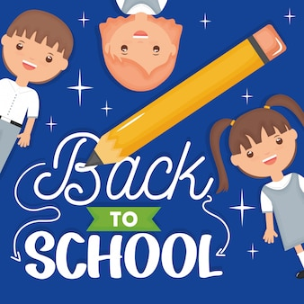 Back to school. cute little students with pencil and font