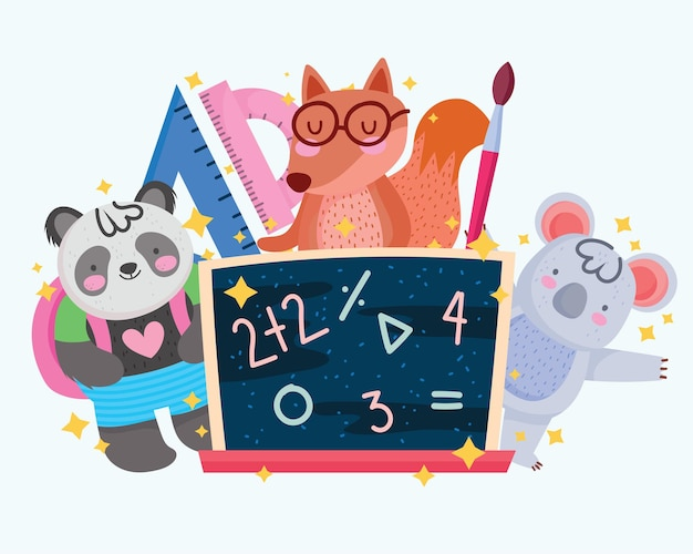 Back to school cute squirrel koala panda with blackboard