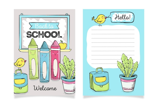 Back to school cute stationery card template
