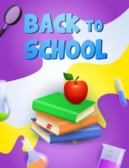 Back to school design. books, apple
