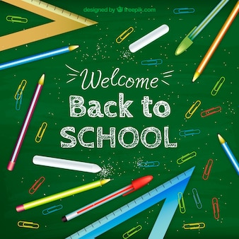 Back to school design on chalkboard