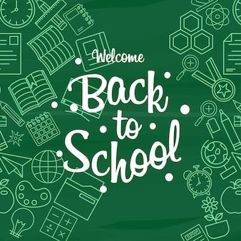 Back to school design element vector with green background