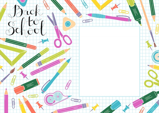 Back to school design. frame of school supplies and copyspace