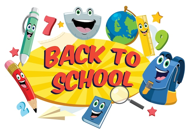 Back to school design in funny cartoon style