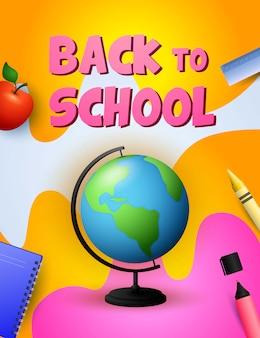 Back to school design. globe, apple