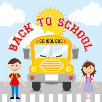 Back to school design over sky background vector illustration