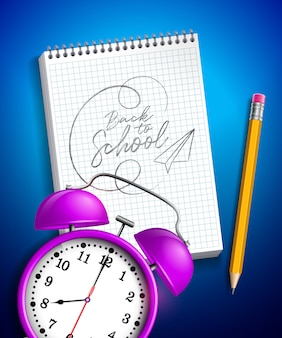 Back to school design with alarm clock