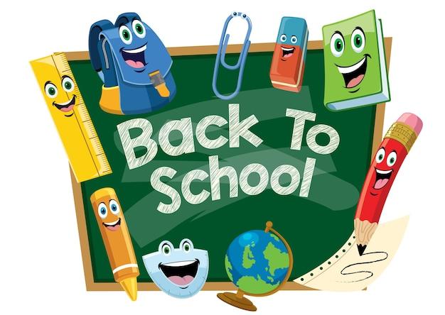 Back to school design with chalkboard cartoon
