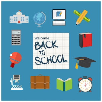 Back to school design with flat icons