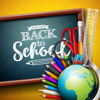 Back to school design with globe and chalkboard on yellow background