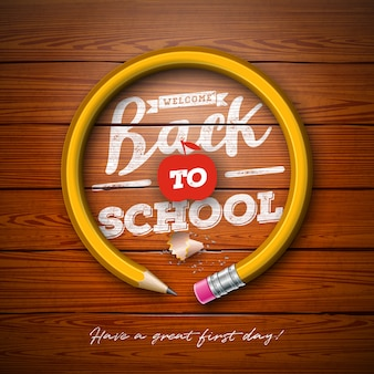 Back to school design with graphite pencil and typography lettering on vintage wood texture background