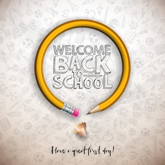 Back to school design with graphite pencil