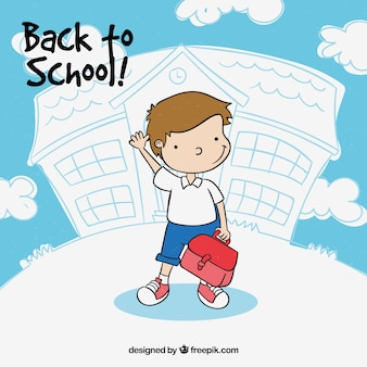 Back to school design with waving kid