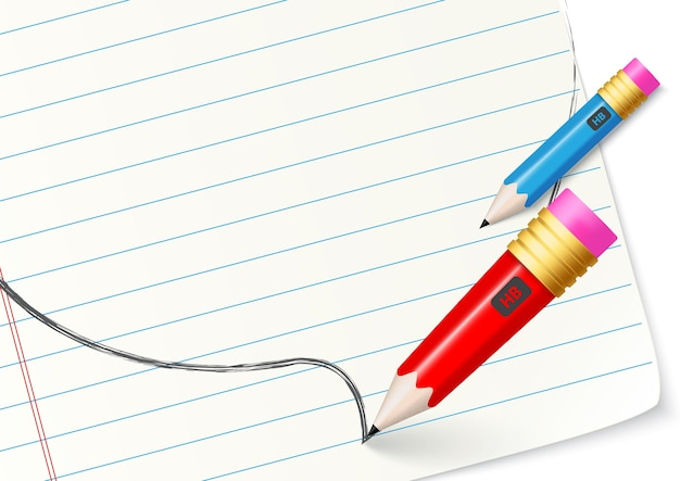 Back to school design writing with pencil