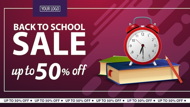Back to school, discount horizontal web banner for online store
