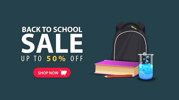 Back to school, discount web banner in minimalist style with school backpack