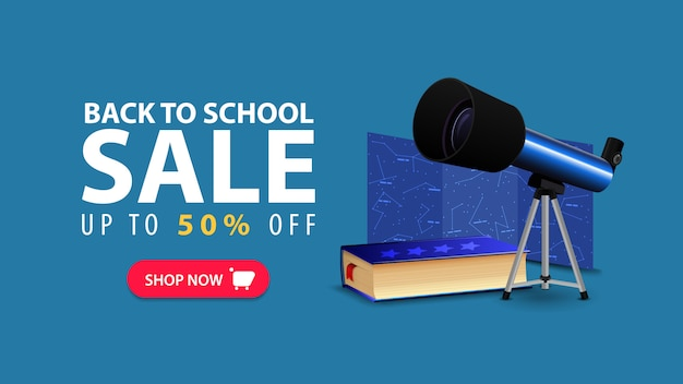Back to school, discount web banner in minimalist style with telescope