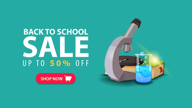 Back to school, discount web banner in minimalist style