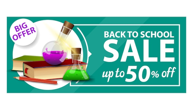 Back to school, discount web banner with books and chemical flasks