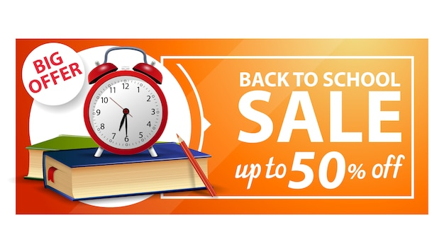 Back to school, discount web banner with school books and alarm clock