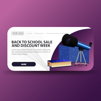 Back to school and discount week, horizontal banner